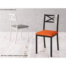 Chaises de cuisine avec pieds en bois, métal, étroites, rembourrées