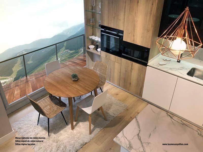 Mesas con encimera madera maciza